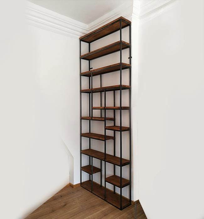 Regal aus Holz und Metall Raumteiler