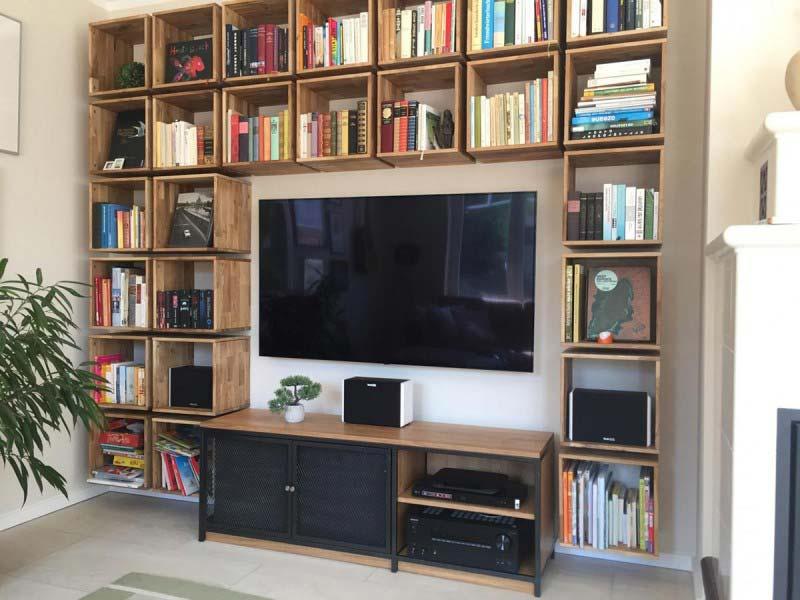 Wohnwand nach Maß für TV und Audio. Media Lowboard TV Rack Regalfächer in Würfelform auch Kubus Regal genannt