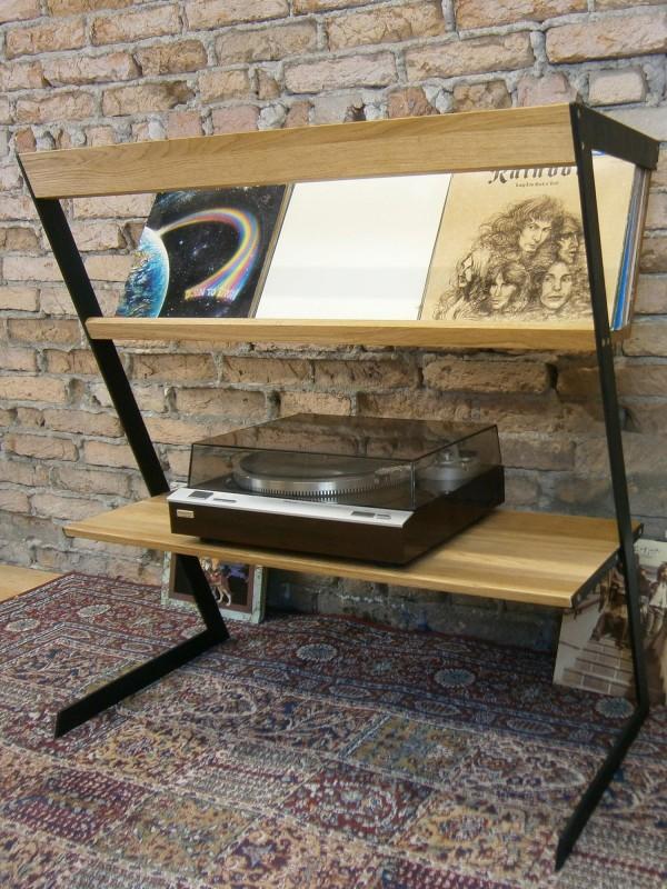 Schallplattenregal LP-Tisch LP Ständer Vinyl Regal aus Eichenholz und Metallfüße
