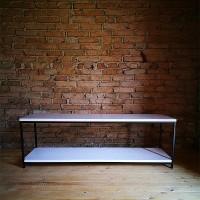 TV-Lowboard LOFT 160x50x55 weißgeölt - Frontansicht