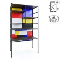 Mondrian Raumteiler Bücherregal