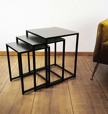 3er Set Beistelltisch aus Metall schwarz lackiert Couchtisch Coffeetable Industriedesign Loft