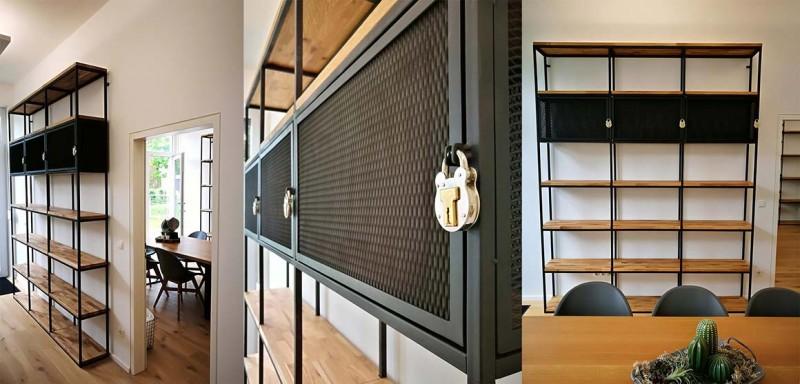 Regal mit Gittertüren zum Abschließen, Eichenholz Stahl schwarz lackiert. Maßanfertigung einer Bücherwand bzw. Bibliothekregal